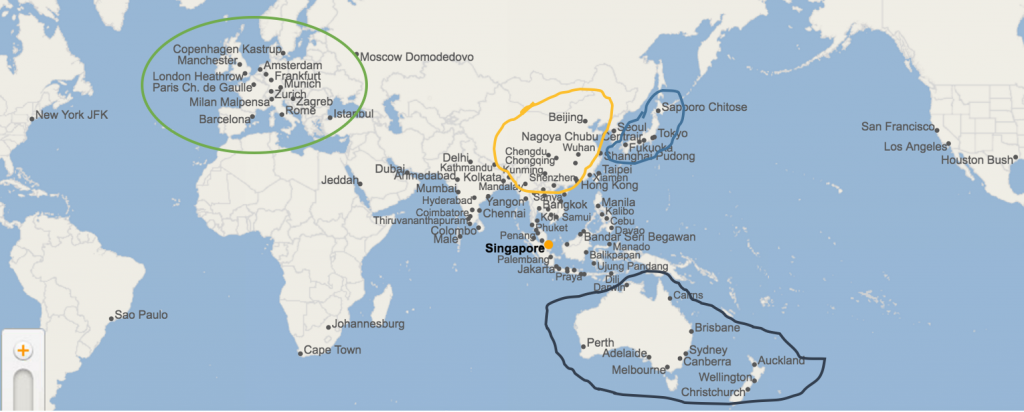 singapore airline route map