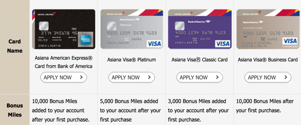 Asiana airline credit card