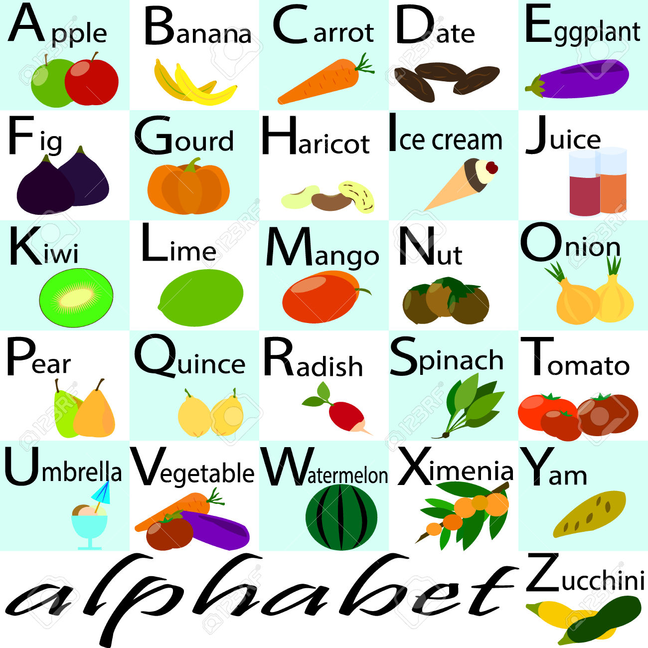 Vector alphabet, capital letters with fruits and vegetables ornament. Alphabet for kids with fruits and vegetables. Back to school. Learning English food alphabet. ABC cards.